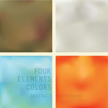 cuatro elementos: Cuatro elementos abstractos Conjunto de fondo Conjunto de cuatro fondos de diferentes colores que representan los cuatro elementos tierra, aire, agua y fuego en el color marrón, gris, azul y naranja con respeto.