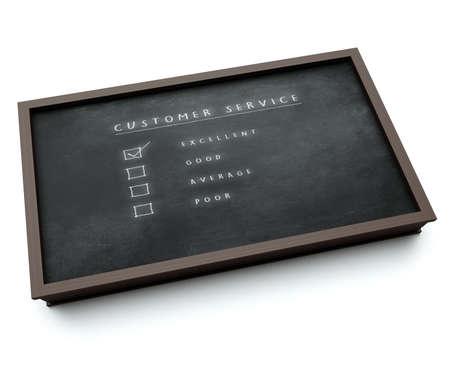 Dienst Evaluatie - Uitstekende 3D-visualisatie van een bord met evaluatieformulier hokje Stockfoto - 58280289