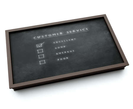 tick box: Service Evaluation - Excellent 3d visualization of a blackboard with evaluation form tick box
