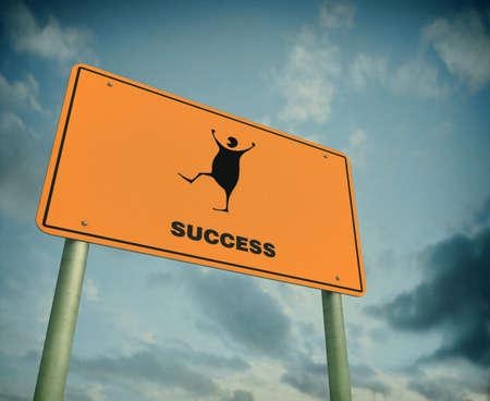 Succesvol en een goed gevoel. Illustratie van een blije mens vieren van zijn succes Stockfoto