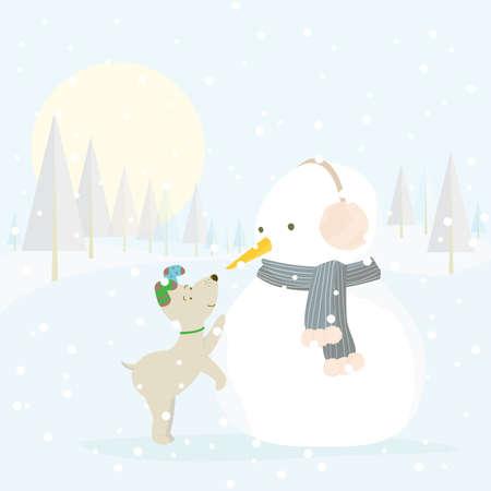 Vector illustratie van een schattige hond maken vrienden met een sneeuw pop. Winter niet-stedelijk landschap.