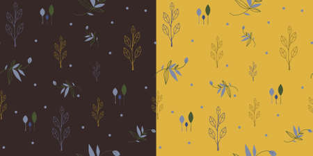 Set of two seamless pattern in earthy colors with floral theme.