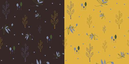 Set van twee naadloze patroon in aardetinten met florale thema.