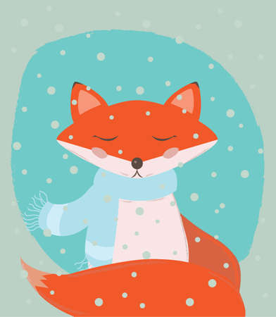Winter holiday illustration with a cute red fox Illustration
