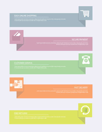 Infographic on-line shopping  banners Vector illustration of on-line shopping banners and icons set.