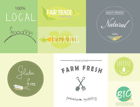 fairtrade: Set of labels and logos for natural organic healthy food and products.