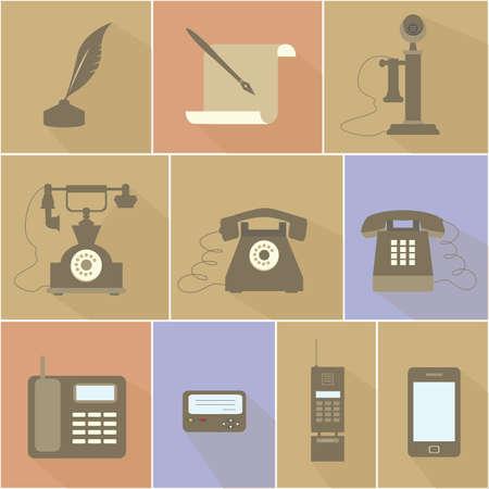 Evolución histórica de la ilustración vectorial Teléfono diseño plano de los diferentes dispositivos de telefonía y medios de comunicación.