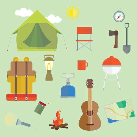 Set van camping buitenshuis wandelingen essentials Vector afbeeldingen Stock Illustratie