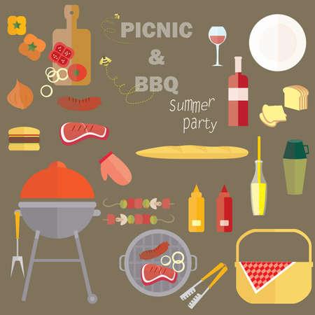 Zomer Barbecue Picnic Party Vector Platte Illustratie Zomer Picknick Barbecue Feest. Stock Illustratie