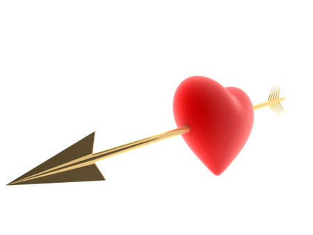 red heart with golden arrow