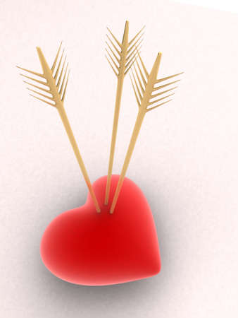 heartbreaker: red heart with golden arrow