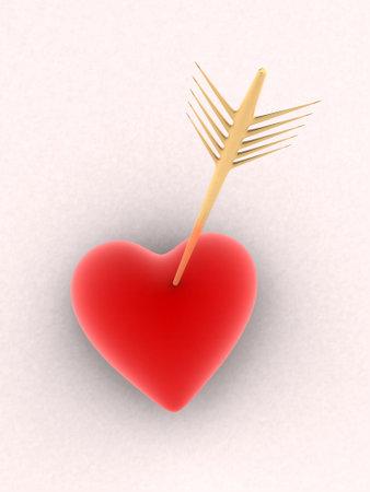 heartbreaker: coraz�n rojo con la flecha de oro Foto de archivo