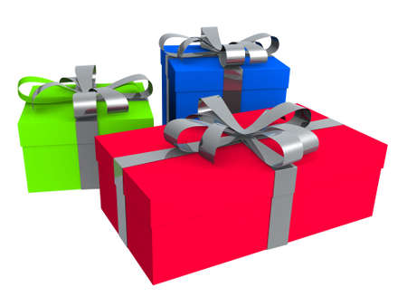 3d rendered coloured gifts photo