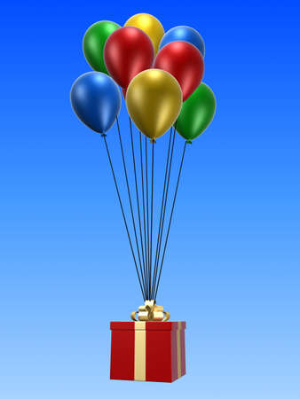 inflate: present and balloons Stock Photo