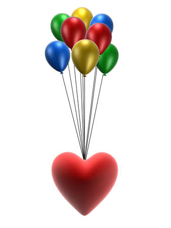 inflate: heart and balloons Stock Photo