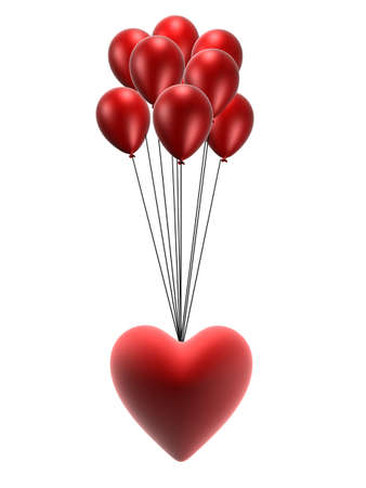 string together: red heart and balloons Stock Photo