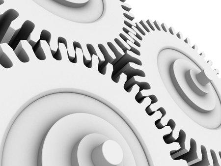technics: white gears Stock Photo