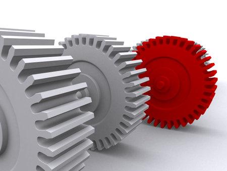 gearings: red gear Stock Photo