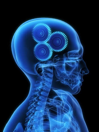 radiogram: x-ray gears in a head Stock Photo