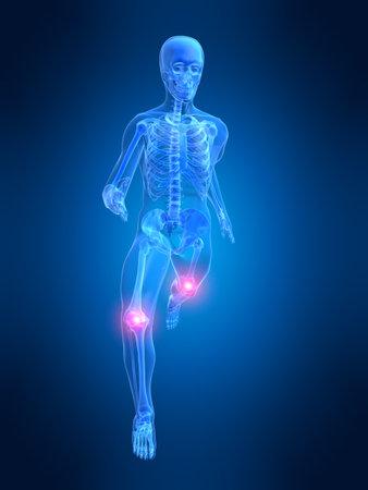 endurance run: running man anatomy with painful knees
