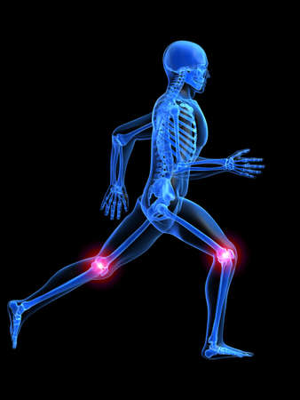 human bones: running man anatomy with painful knees