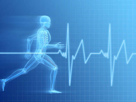 physical therapy: running man anatomy Stock Photo