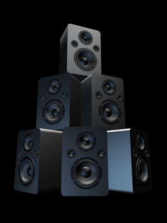 sub woofer: tower of speakers