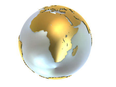 africa continent: goldwhite globe Stock Photo