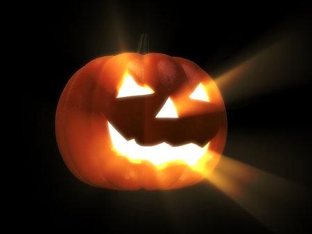 doorstep: glowing halloween pumpkin Stock Photo