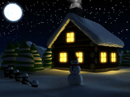 christmasball: chrietmascardwinterscene Stock Photo