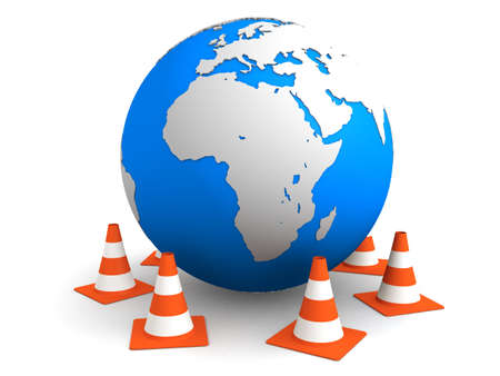 globe and traffic cones Stock Photo - 2846117