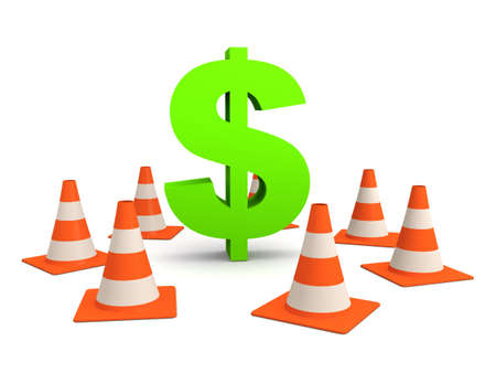 financial obstacle: dollar sign and traffic cones Stock Photo