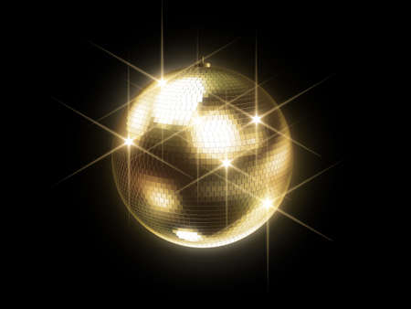 mirrored: golden disco ball