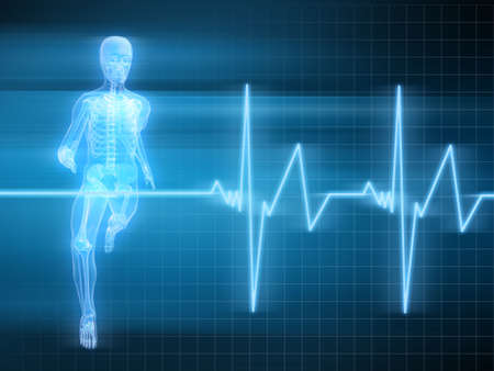 physical therapy: running skeleton with heartbeat