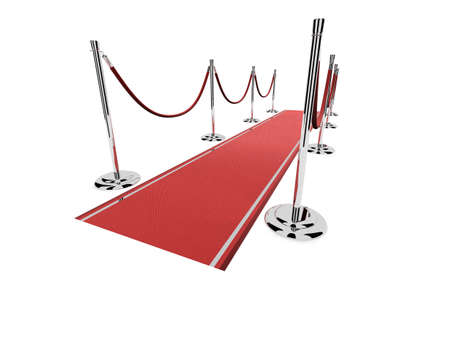 red carpet with silver metal barriers Stock Photo - 2846247