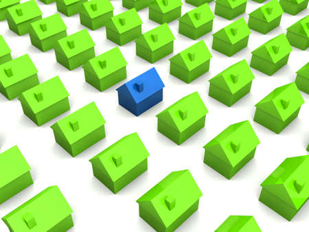 equal opportunity: 3d little houses Stock Photo