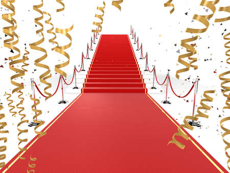 red carpet with golden ribbons