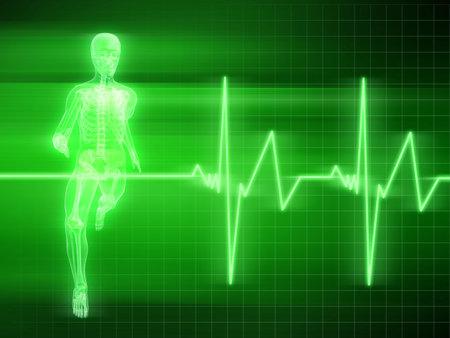 endurance run: running man and heartbeat Stock Photo
