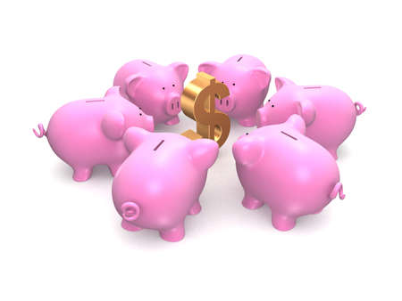 pink piggies and dollar sign photo