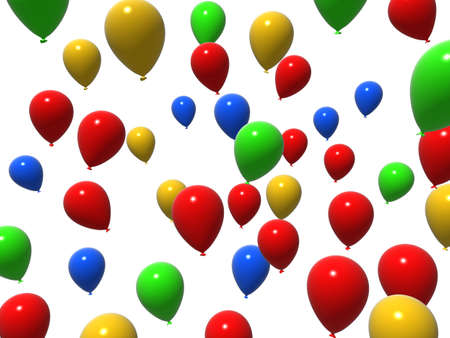 flying colorful balloons photo