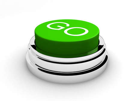 pushbuttons: green button Stock Photo