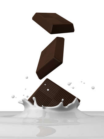 into: chocolate piece falling into milk Stock Photo