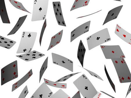 poker cards: falling poker cards