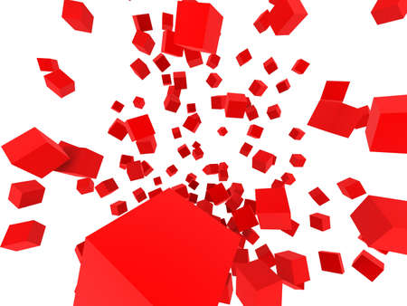 alling: abstract red cubes