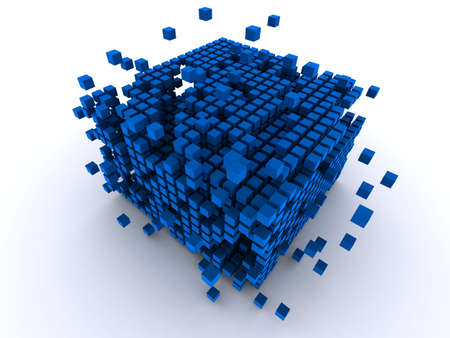 abstract blue cubes Imagens