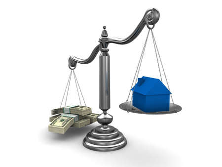 verdicts: scale with dollar notes and house