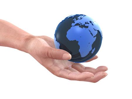 globe and hand photo