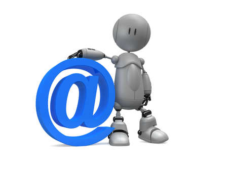 little robot with at sign Stock Photo - 3006406