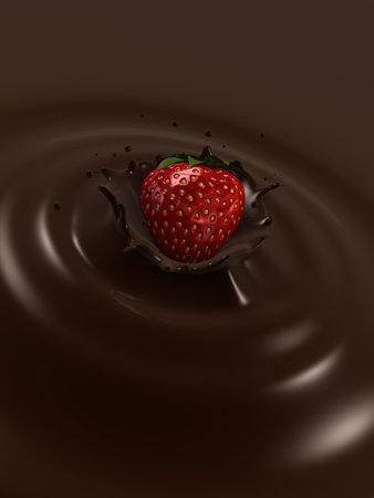 strawberry choco splash Stock Photo - 3006402