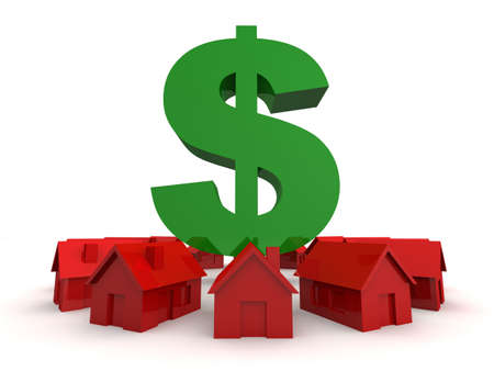 housing problems: red houses and dollar sign